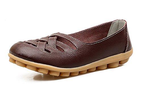 VenusCelia Women's Comfort Walking Casual Flat Loafer(9 M US,Brown)