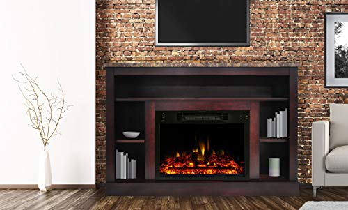 Cambridge Seville Heater with 47-in. Cherry TV Stand, Enhanced Log Display, Multi-Color Flames, and Remote Control, CAM5021-1CHRLG3 Electric Fireplace ()
