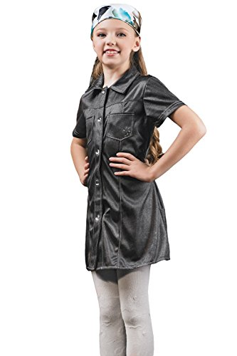 [Kids Girls Factory Girl Halloween Costume Biker Schoolgirl Dress Up & Role Play (3-6 years, grey)] (Biker Kid Costume)