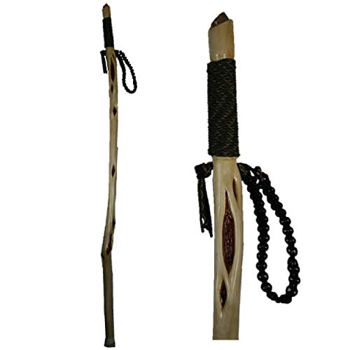 (Diamond Willow Wood Walking Stick - You Choose Color Handgrip and Wrist Strap)
