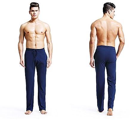 OKSakady Pantalones de Noche de Algodón para Hombres Pantalones de Salón de  Pantalón Largo para Pantalón ... 59b0e9a10e2