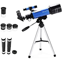70mm Refractor Telescope Tripod & Finder Scope, Portable Telescope Kids & Astronomy Beginners, Travel Scope 3 Magnification eyepieces & Moon Mirror