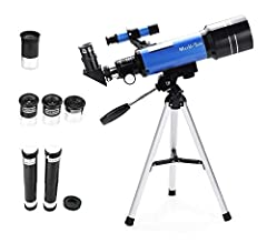 * MaxUSee Refractor Telescope F400X70 - the perfect First Telescope for kids and beginners This F400X70 telescope comes with 4 interchangeable eyepieces as well as 3X Barlow lens and 1.5X Erecting eyepiece which you can enjoy different magnif...