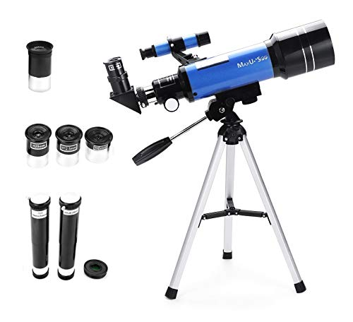MaxUSee 70mm Refractor Telescope with Tripod & Finder Scope, Portable Telescope for Kids & Astronomy Beginners, Travel Scope with 3 Magnification eyepieces & Moon Mirror Blue (Best Beginner Telescope For Kids)