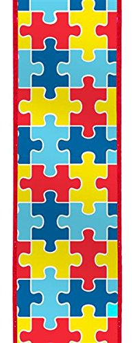 Autism Awareness Puzzle Piece Wired Ribbon | Red Yellow Blue (2.5 Inches x 10 -