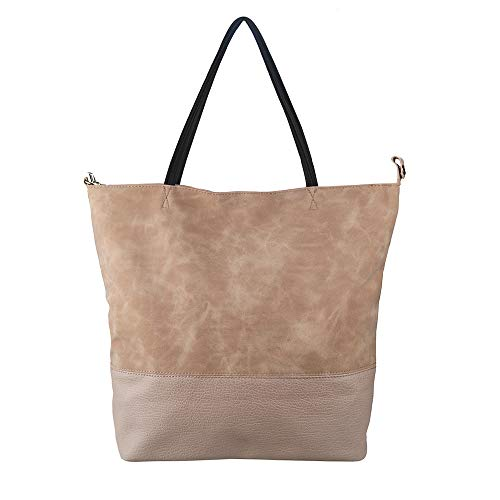 Sibalasi-Italian Style Women's Soft Lightweight Tote Classic Big Capacity Shoulder bag Mommy bag (Pink)