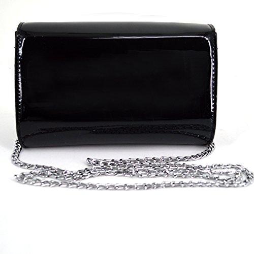 Printing Handbag Bag Leather Tone Bag Black Cross LA HAUTE Body Gold Chain Women Patent Star Chic w4xx8Faq