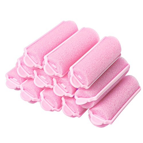 Pengxiaomei 12 Pcs Hair Rollers, Pink Foam Sponge Hair Curlers Bouncy Curls Style Tools Accessories