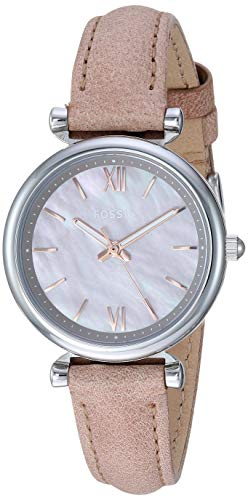 Fossil Women's Mini Carlie Stainless Steel Quartz Watch with Leather Strap, Tan, 12 (Model: ES4530)