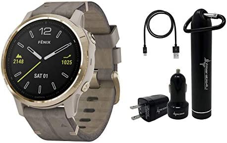 Garmin Fenix 6S Smaller-Sized Multisport GPS Watch with Wrist-Based Heart Rate Pulse Ox and Wearable4U Ultimate Power Bundle Sapphire Light Gold-Tone with Shale Gray Leather Band