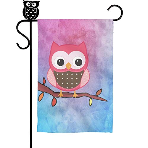BoDu Cute Cartoon Pink owl on The Branch Garden Flag Yard Home Flag 18 x 12.5 Inch -