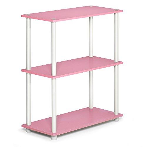 Furinno 10024PI/WH Turn-N-Tube 3 Compact Multipurpose Shelf, 3-Tier, Pink/White