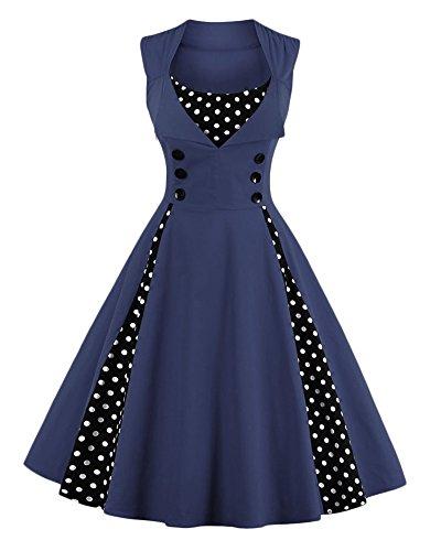para Vestido Rockabilly Mujeres Botones con Marina 50 Vestido de Vintage Elegante Kasen Noche Swing Cóctel de IvtUqznUx