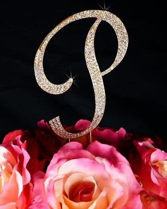 Unik Occasions Sparkling Collection Crystal Rhinestone Monogram Cake Topper - Letter P, Small, - Rhinestone Monogram Small