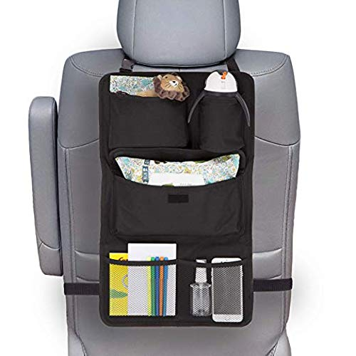 Delta Car Mats - Delta Children Backseat Car Organizer | Ideal for Baby Accessories, Kids Toys, Travel Essentials | Great for Everyday Use or Road Trips, Black