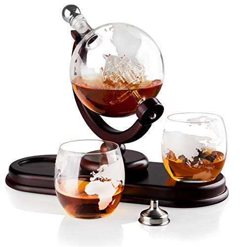 (Globe Liquor Decanter set with 2 Etched Whisky Glasses by QUASIFY - for Liquor, Whiskey, Scotch, Bourbon - 850ml (Silver Stopper))