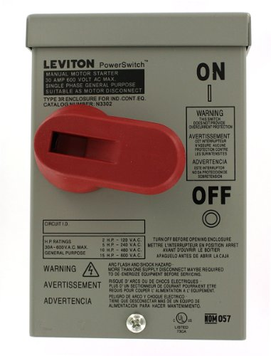 Leviton N3302-DS 30-Amp, 600 Volt, Toggle In Type 3R Enclosure Double-Pole, Industrial Grade, Grounded to Enclosure, - Switch Starting Motor