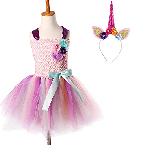 JEWH Unicorn Costume for Girls | Kids Girls Unicorn Tutu Dress with Headband Knee-Length Pastel Rainbow Flower Girl Dress Kids Halloween Pageant Party Costume( Unicorn Dress 4 - 4T) -