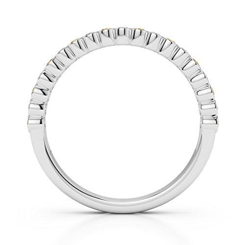 G-H/VS 0,18CT Coupe ronde sertie de diamants et citrine avec diamants en platine 950Agdr-1101