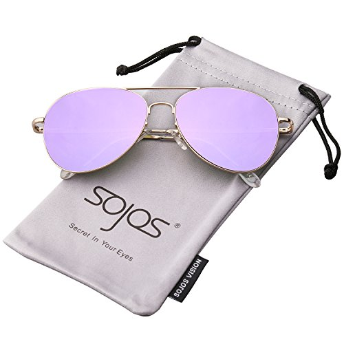 SojoS Classic Aviator Mirrored Flat Lens Sunglasses Metal Frame with Spring Hinges SJ1030 With Gold Frame/Purple Mirrored Lens (Contact Lenses Sunglasses)