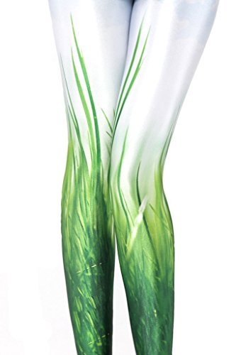 igh Waist Nature Green Printted Ankle Elastic Tights Legging ()
