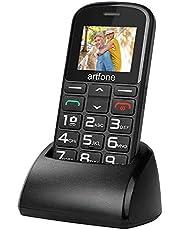 Artfone CS182 Mobiele telefoon voor oudere mensen met grote knoppen, laadstation, SOS-functie, 1,77 inch display, dual sim, snel oproep, zaklamp, radio, lange levensduur