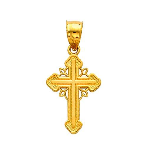 14 ct 585/1000 Or Trinite-Croix-Charme-Pendentif