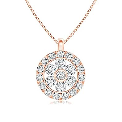 Angara Channel-Set Diamond Flower Pendant with Halo IFGlwy