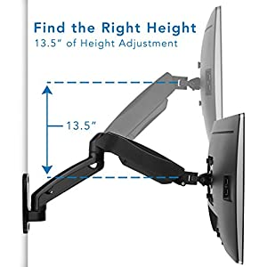 Mount-It! Computer Monitor Wall Mount Arm, Height Adjustable Articulating With Gas Spring Arm, For 17-32 Inch LCD, LED Computer Monitors (13, 15, 17, 19, 20, 22, 23, 24, 26, 27, 30, 32), VESA 75, 100