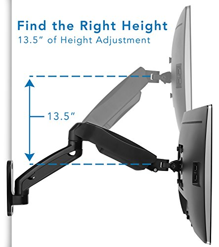 Mount-It! Monitor Wall Mount Arm | VESA Wall Mount Monitor Arm | Full Motion Gas Spring Arm Fits 13 15 17 19 20 22 23 24 27 30 32 Inch Screens with 75 or 100 VESA Patterns | Camper RV Compatible