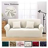 Argstar Premium Knit Slip Cover for Sofa Couch Spandex Stretch 3 Seater Slipcover Cream White