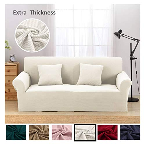 Argstar Premium Knit Large Cover Slipcover for Sofa Couch 3-4 Seater Elastic Cream White Furniture - Small 3 Seater