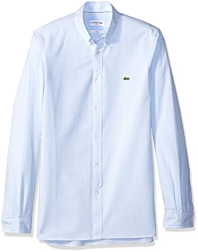 Lacoste Men's Long Sleeve Oxford Stretch Stripe Collar Slim Woven Shirt, CH5022, Hemisphere Blue, (Button Down Stretch Woven Shirt)
