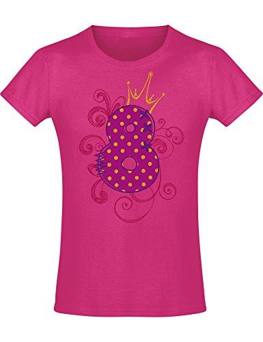 Meisjes verjaardag T-shirt: 8 jaar met kroon – acht acht acht verjaardag kind – idee – prinses prinses – glitter roze…