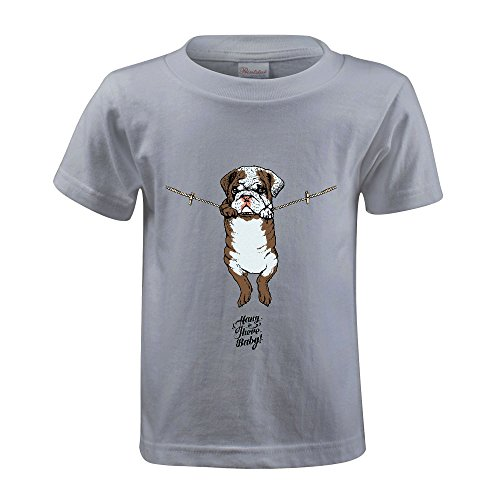 Chas Hang in There Baby English Bulldog Youth Crew Neck Cotton Tees Grey