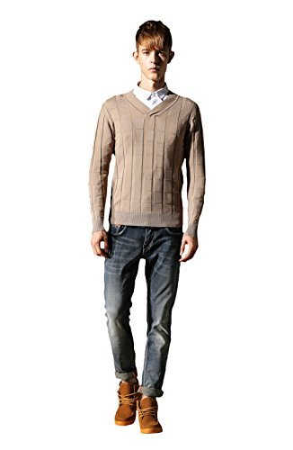 Bakeboy Men All-Match Pure Cotton V Neck Thin Base Knitwear Sweater