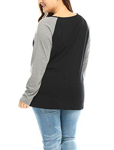 Agnes Orinda Mujer Talla extra Cráneo Floral con contraste de color Raglan T-Camisa Black