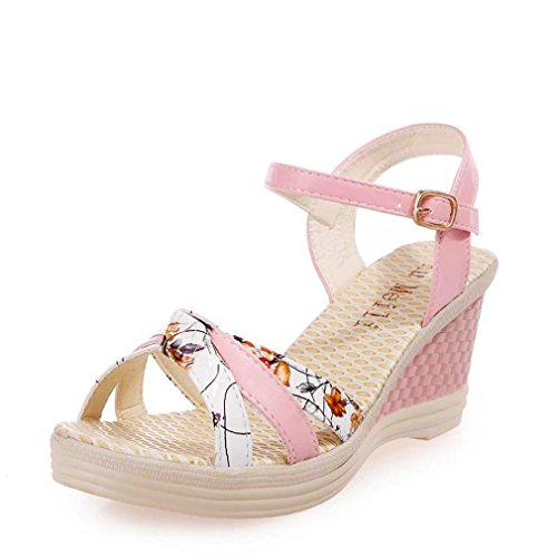 Lolittas Summer Beach Boho Wedge Sandals for Women Ladies,Bohemian Embellished Bridesmaid High Heel Waterproof Platform Strappy Wide Fit Peep Toe Outdoor Shoes Size 2-7 Pink