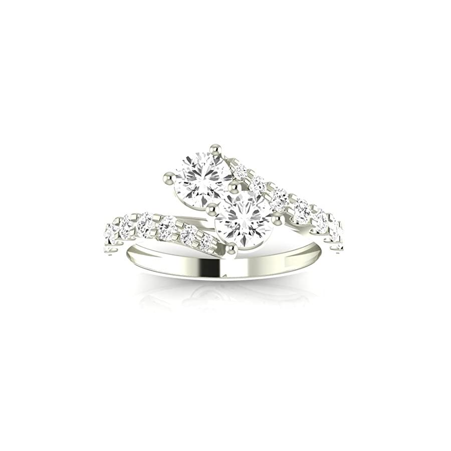 1 1/2 Carat t.w. Twisting Pave Set 2rue Love 2 Stone Collection Round 14K White Gold Diamond Engagement Ring (F G Color, SI2 I1 Clarity Center Stones)