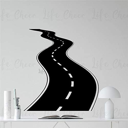 Geiqianjiumai Calcomanías de Pared de Carretera Curva decoración de Garaje para el hogar Carretera calzada Pista Pista Vinilo Pared Arte Mural Pared 42 cm x 46 cm