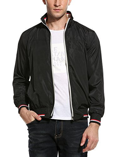 Coofandy New Men Casual High Neck Thin Striped Lightweight Slim Long Sleeve Bomber Jacket Black Large by COOFANDY