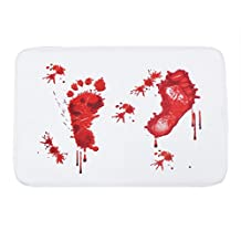 Soft and Fluffy Blood Bath Bloody Rug Creative Blood-smeared Footprints Bath Mat Water Absorption Non-slip Rug