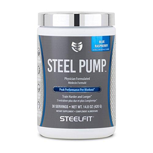 SteelFit, Steel Pump Physician Formulated Peak Performance Workout, Train Harder and Longer, 30 Servings (Blue Raspberry)