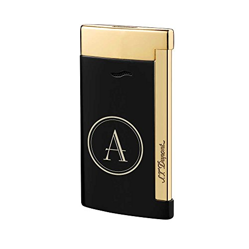 (Personalized ST Dupont Slim 7 Single Torch Flame Lighter - Black and Gold with Free Initial Laser Engraving)