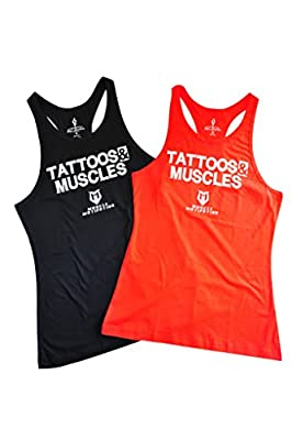 Mens Bodybuilding Tank Tops y back Gym Clothing Tattoos and Muscles Tanktops Cotton Stringer T Shirt Singlet Vests Tops for Mens Yoga and Excersise Workout Weightlifting Tank Top