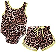 Ambabe 2PCS Newborn Baby Girl Clothes Sleeveless Leopard Print One Piece Swimsuit+Shorts Swimwear