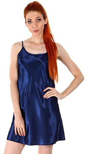 Women's Sexy Sleepwear Satin Nightgown Silk Chemise Slip Dress,Dark Blue, S/M