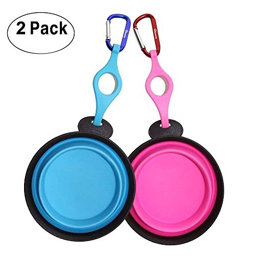 PERSUPER Collapsible Dog Bowl,2 Pack Food Grade Silicone Foldable Expandable Dog Pet Bowl,Portable Travel Bowl with Carabiner,Durable Dog Water Bowl,Cat Dog Food Water Feeder Bowl,Blue&Pink