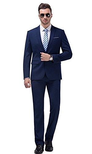 YIMANIE Men's Suit Slim Fit One Button 2 Piece Suit Tuxedo Business Wedding Party Casual Navy ()