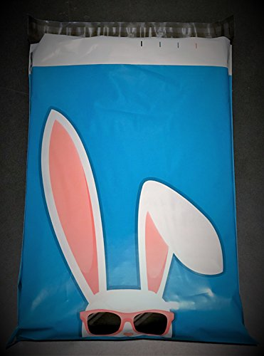 10x13 Floppy Ears Easter Bunny Poly Mailers Custom Design Boutique Shipping Bags Blue Bag w/ Cool Bunny Sunglasses 10